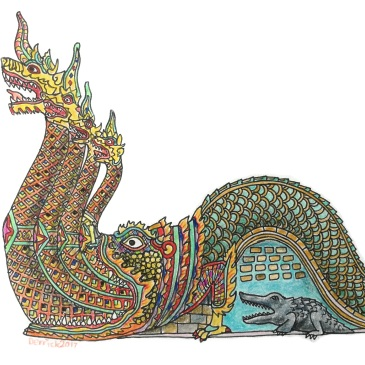 Sketch of a statue in Thailand of a colourful dragon