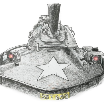 Drawing of an American tank used in the Vietnam War