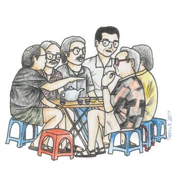 Drawing of a group of Vietnamese men sitting on small plastic chairs