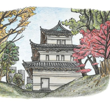 Urban sketch of Tokyo's imperial palace gardens