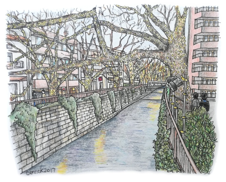 Urban sketch of light displays in the trees above Nakameguro canal