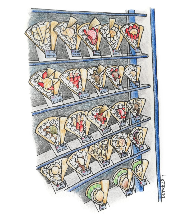 Sketch of Harajuku crepes on display