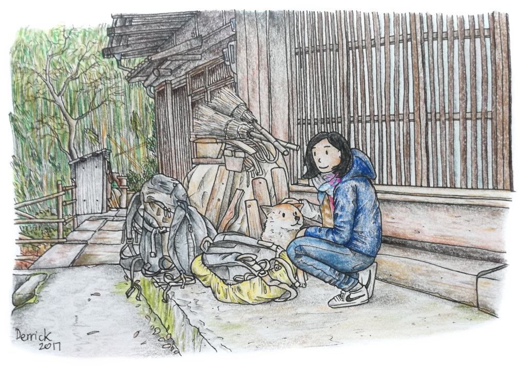Sketch of a girl and a dog in a traditional Japanese village
