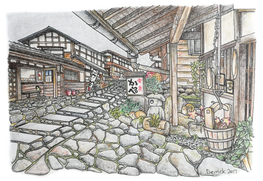 Urban sketching in Magome of cobble stone streets and traditional houses