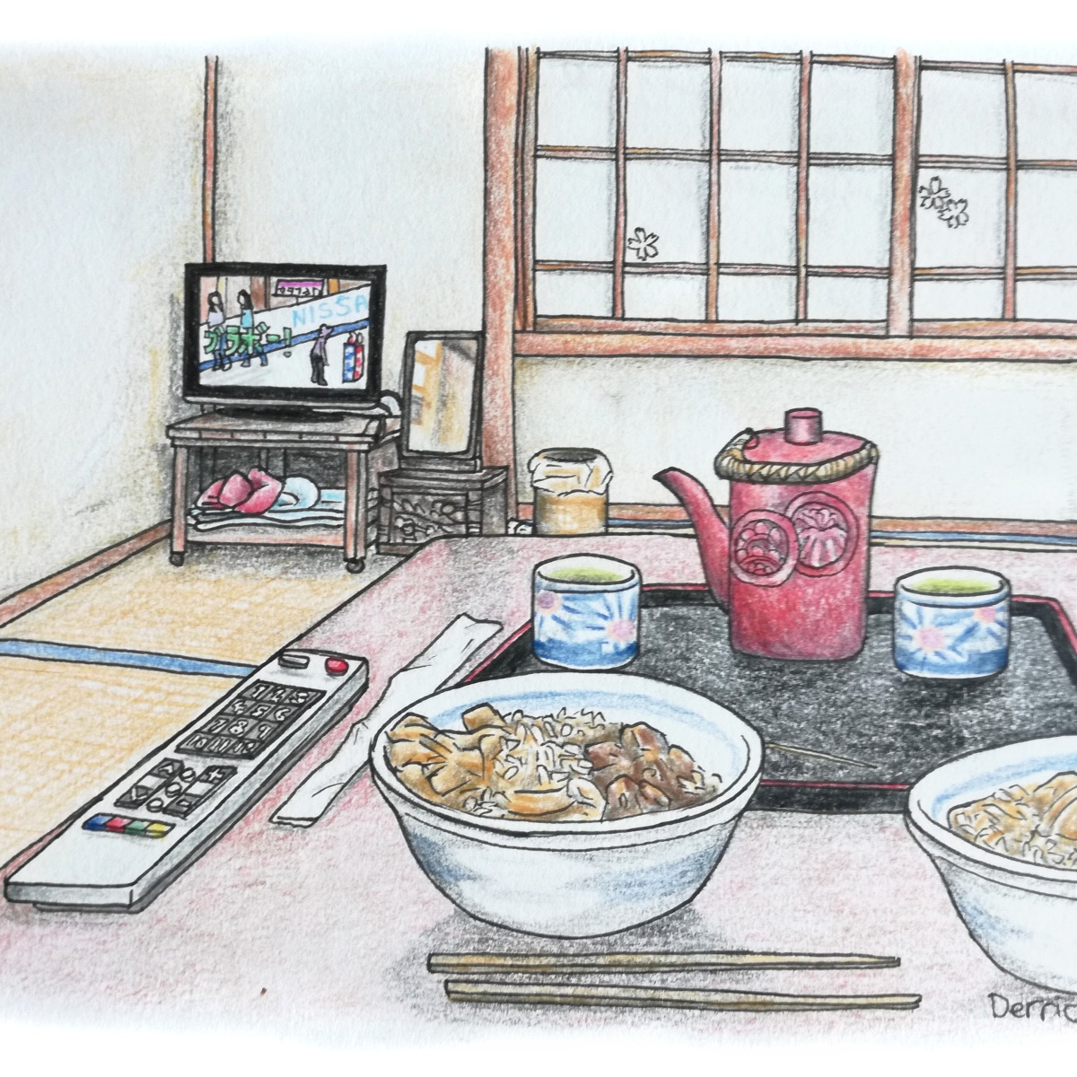 Sketch of two bowls of rice and television in a ryokan with tatami mats