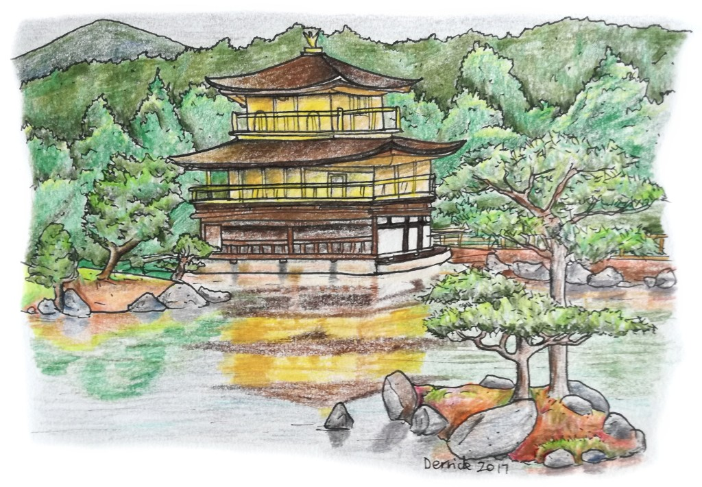 Sketch of Kinkaku-ji reflecting in the still water of a lake