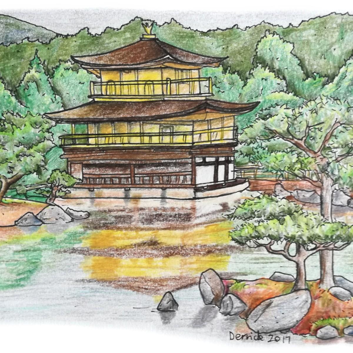 Sketch of Kinkaku-ji reflecting in the still water of a lake