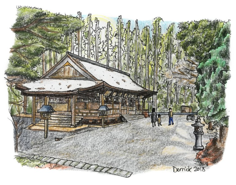 Sketch of a Buddhist temple covered in snow in Koyasan, Japan