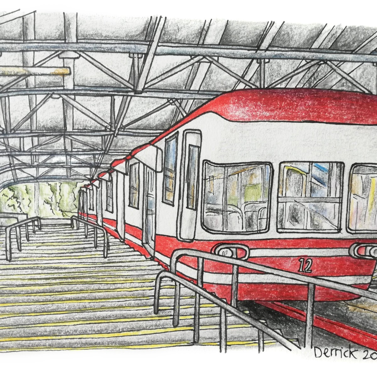 Sketch of a special japanese train to reach Koyasan