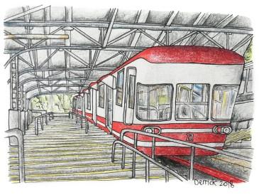 Urban sketching Japan mountain train