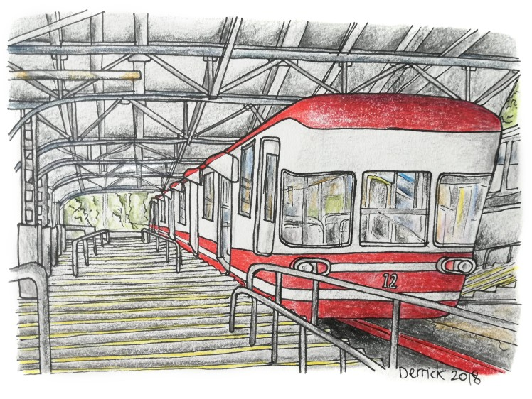 Sketch of a Japanese funicular to reach Koyasan