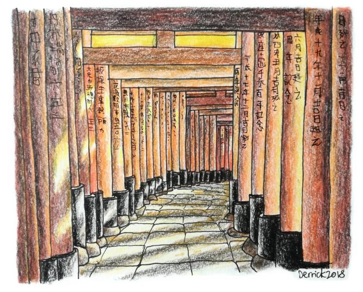 Sketch of Fushimi Inari torii gates in Kyoto