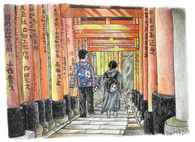 Sketch of a couple holding hands as they walk between torii gates in Kyoto