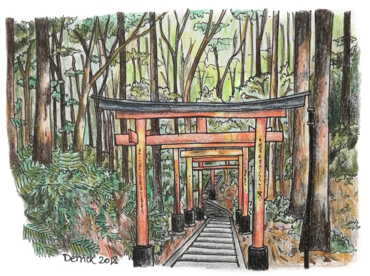 Sketch of torii gates in the forest at Fushimi Inari, Kyoto