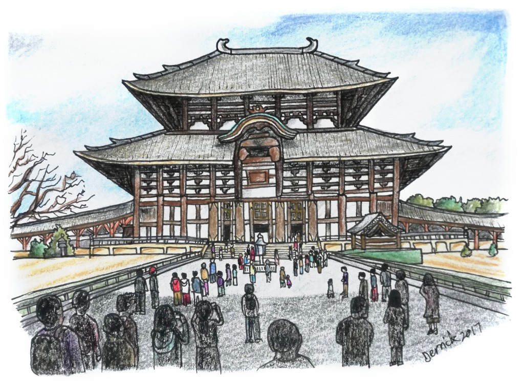 Sketch of Nara's Buddhist Tōdai-ji temple