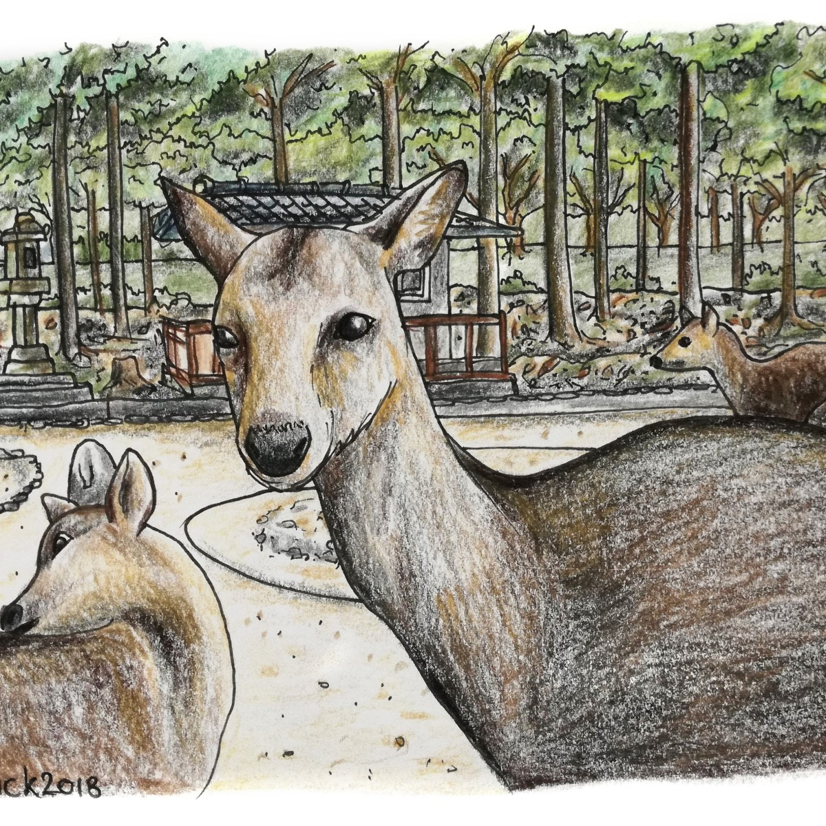 A sketch of cute deer waiting for crackers from tourist in Nara