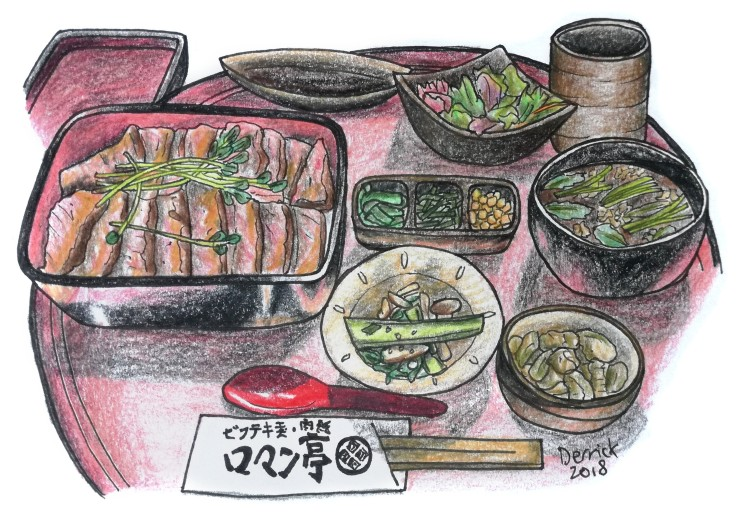 Sketch of a Japanese beef lunch set with soup and rice