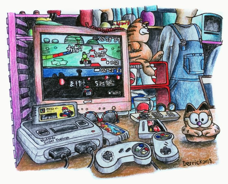 Drawing of a super Nintendo on a table with Garfield toys