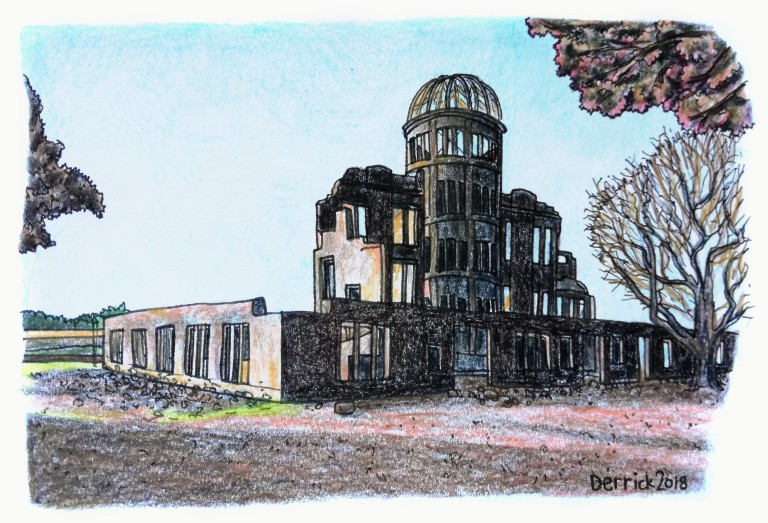 Drawing of the destroyed a-bomb dome in Hiroshima