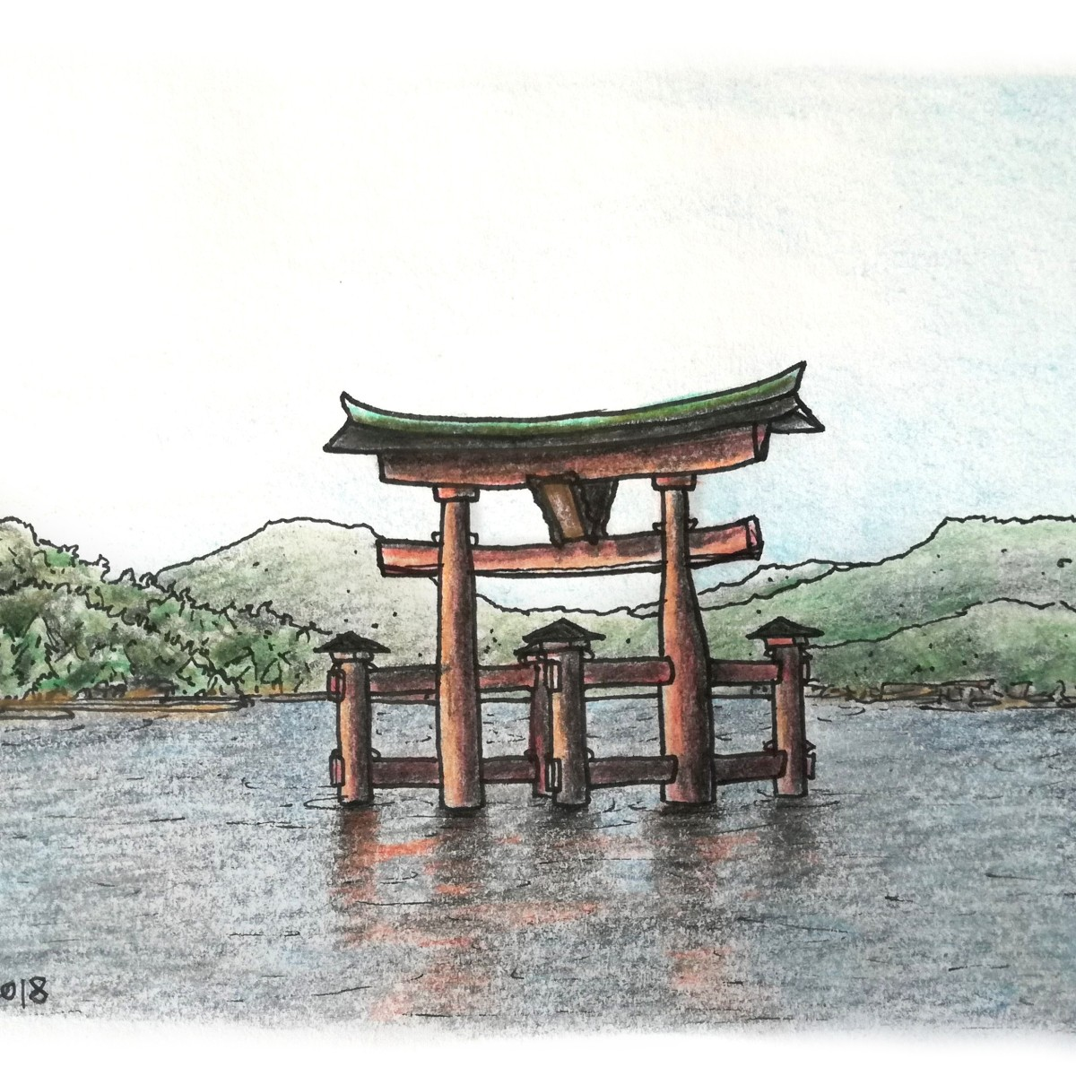 Sketch of an ancient Japanese torii gate standing in the bay