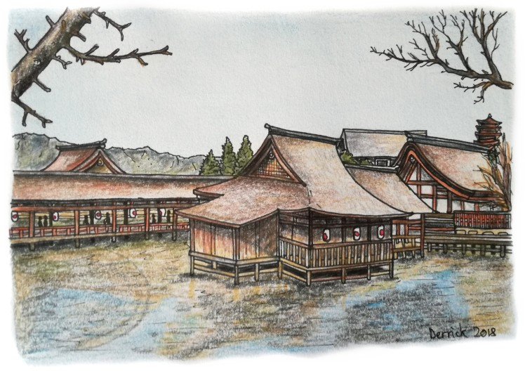 Sketch of a Japanese shrine on stilts in the water