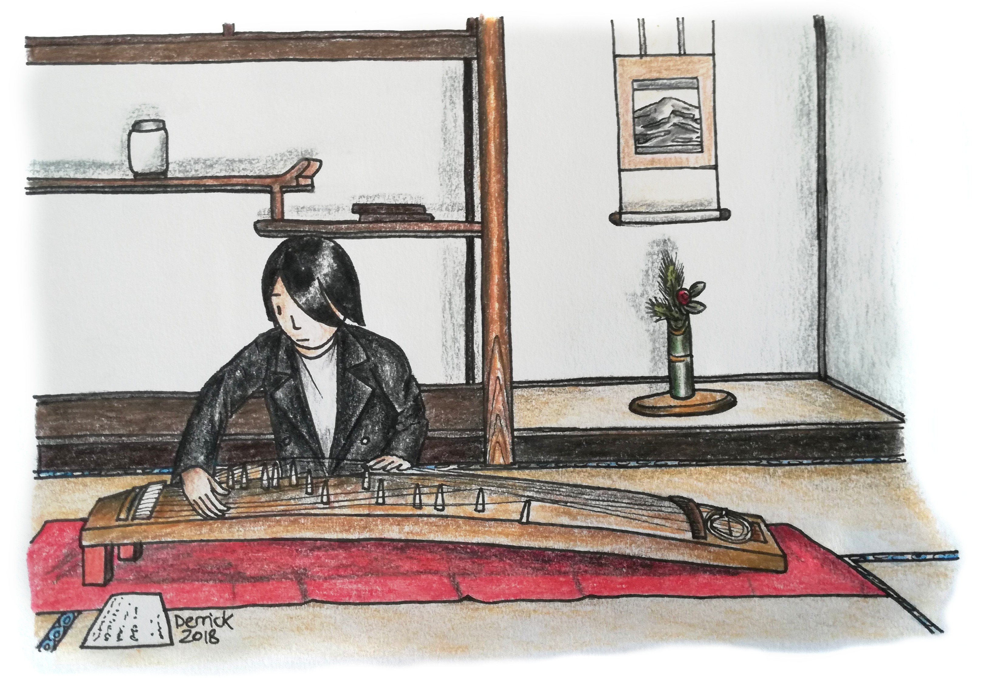Drawing of a Japanese girl playing a Japanese musical instrument
