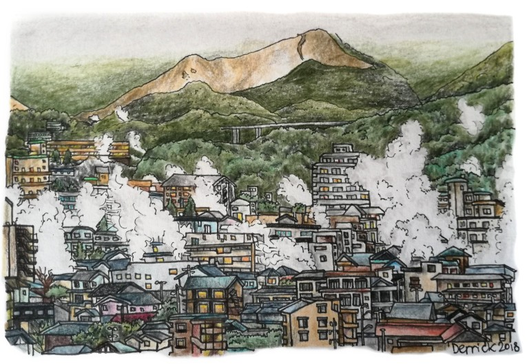Sketch of the Japanese city of Beppu showing steam clouds rising between the buildings