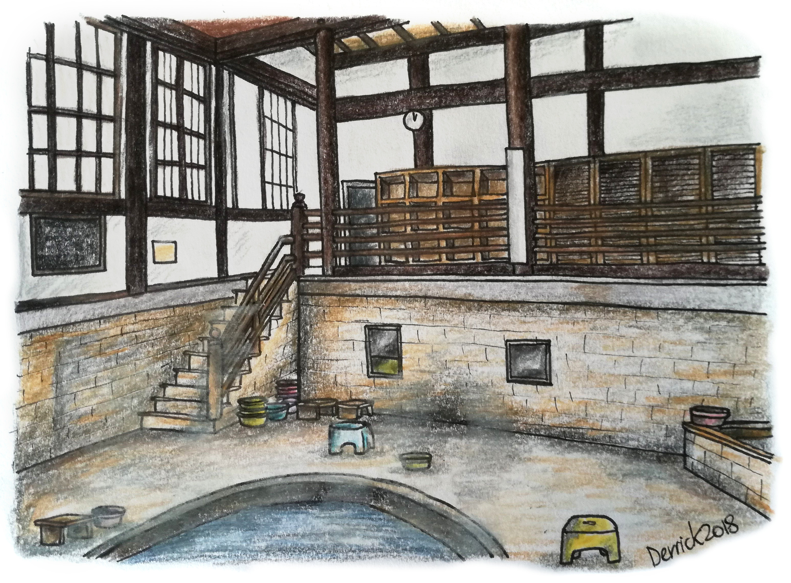 Drawing of a japanese bathing house in an old traditional building