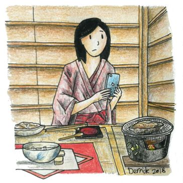 Sketch of a girl dressed in a yukata eating abalone