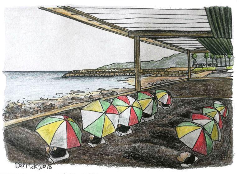 Japanese sand onsen under umbrellas in beppu sand