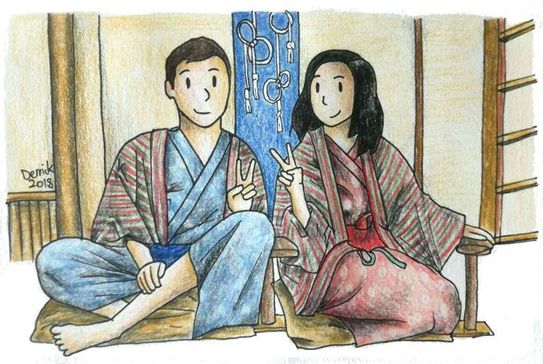 Illustration of people posing in a ryokan room