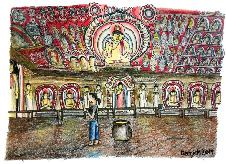 Sketch of dambulla cave wall art