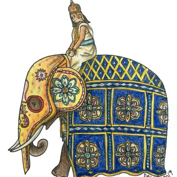 Sketch of an elephant with colourful clothing