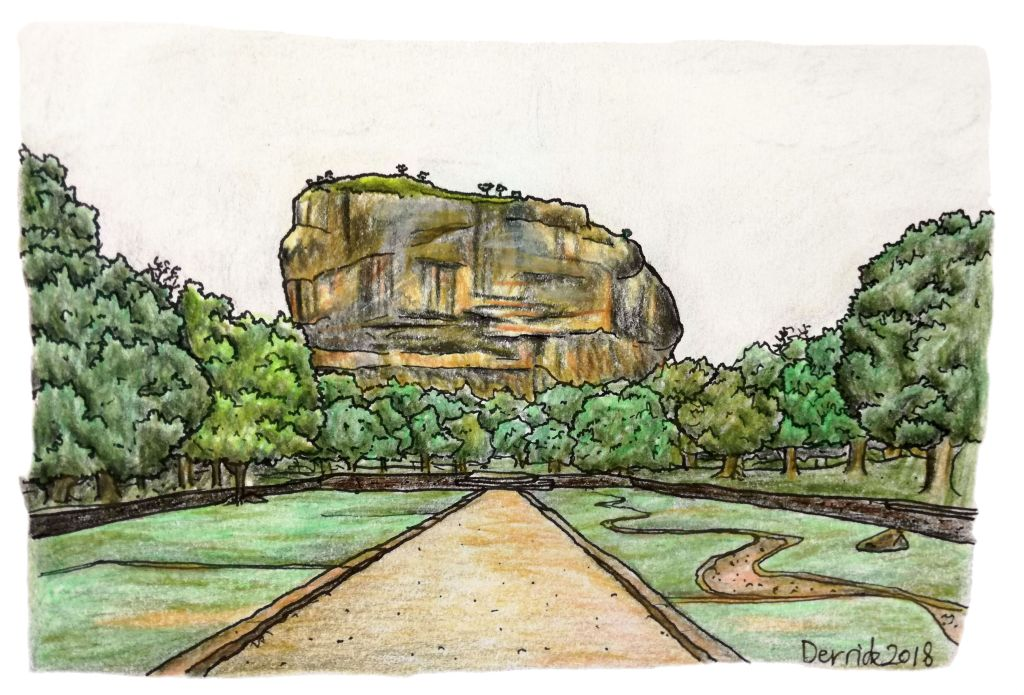 Drawing of sigirya and landscape