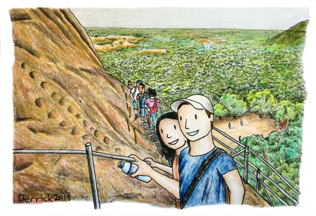 Illustration of people climbing Sigirya rock