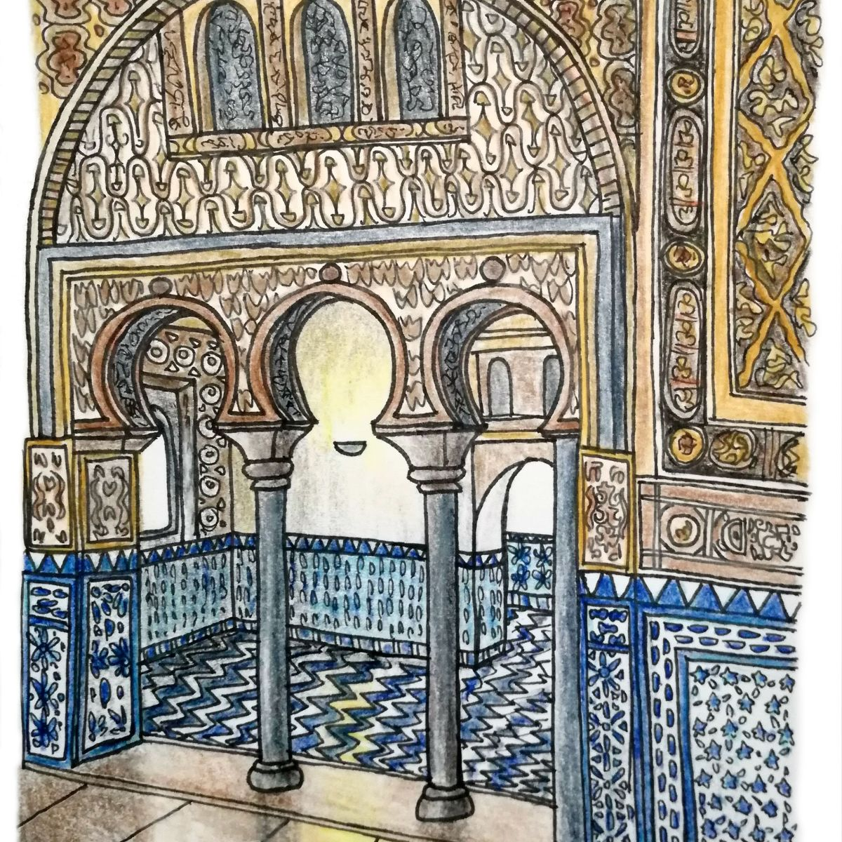 drawing of beautiful spanish tiles