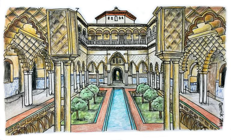 drawing of the real alcazar garden courtyard