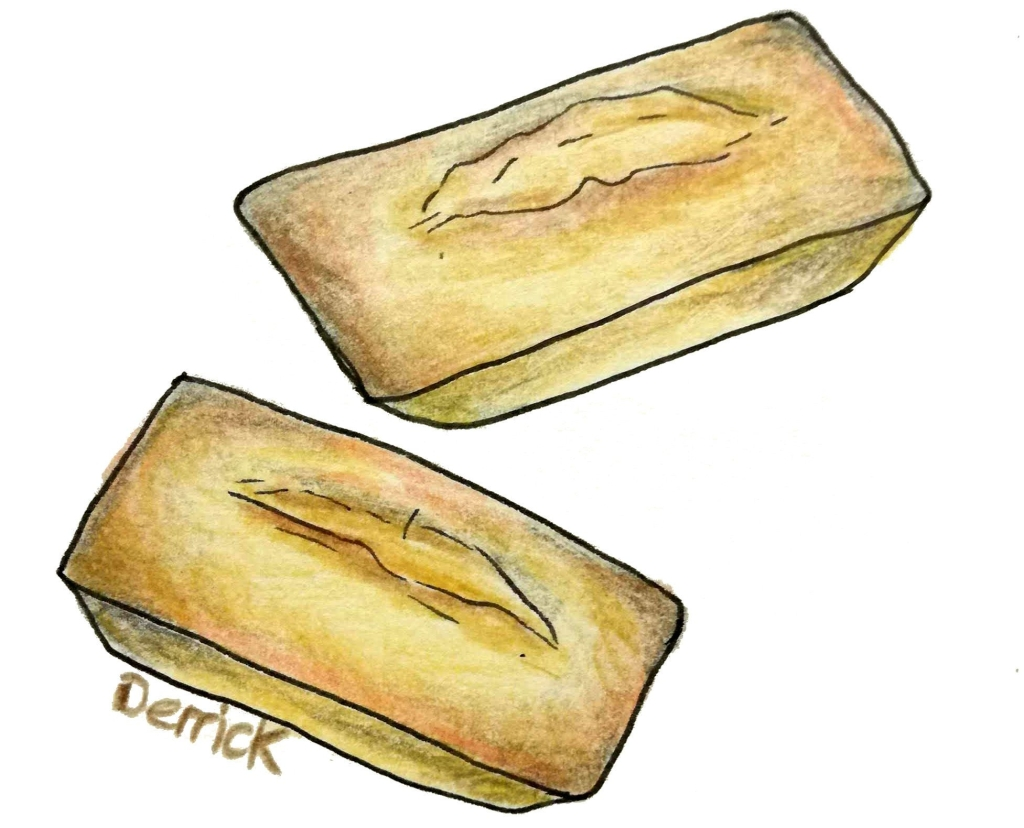 sketch of french financier sponge cakes