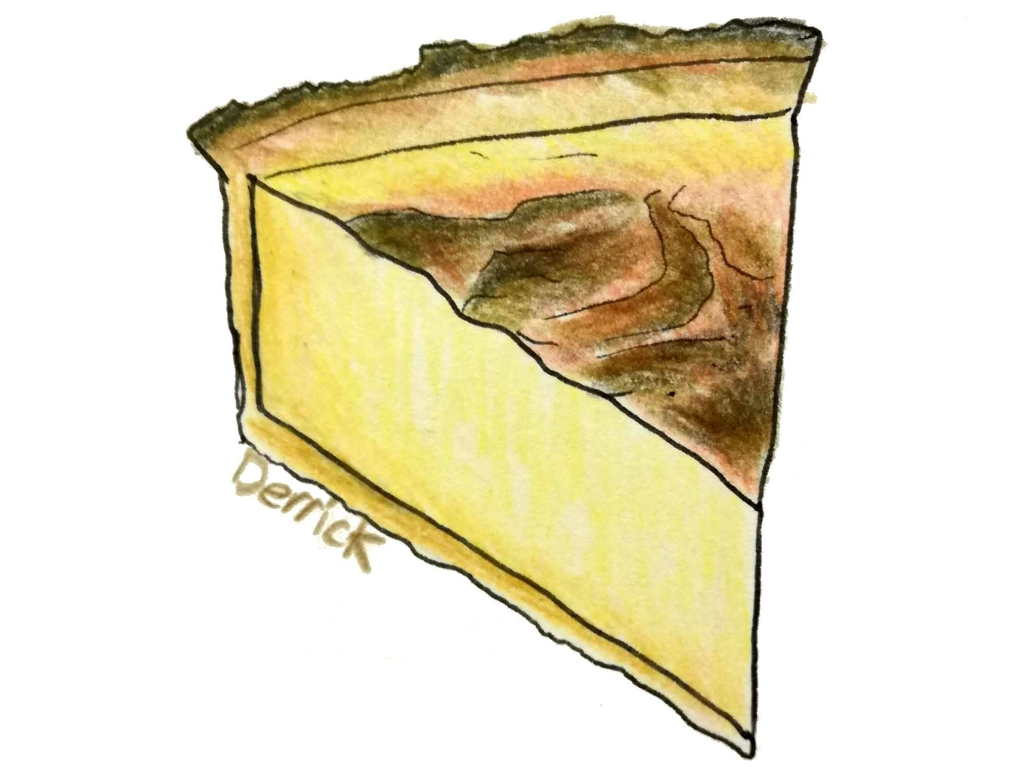 drawing of a slice of flan