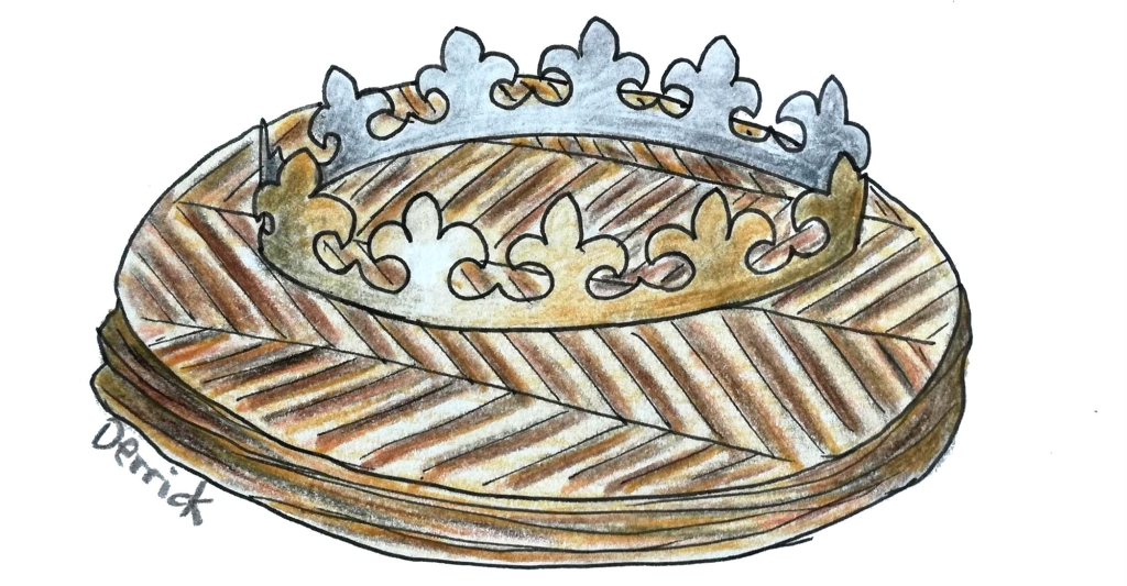 sketch of a french cake of kings