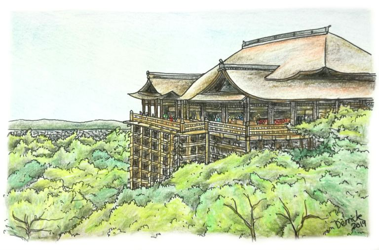 sketch of kiyomizu dera temple in kyoto