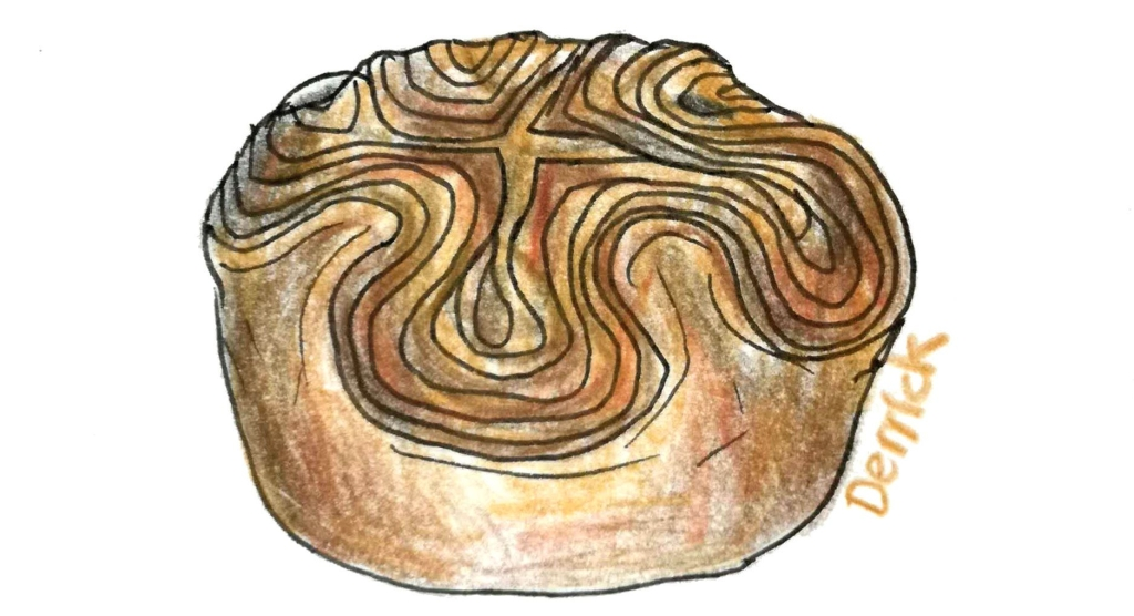 sketch of a kouign amann pastry