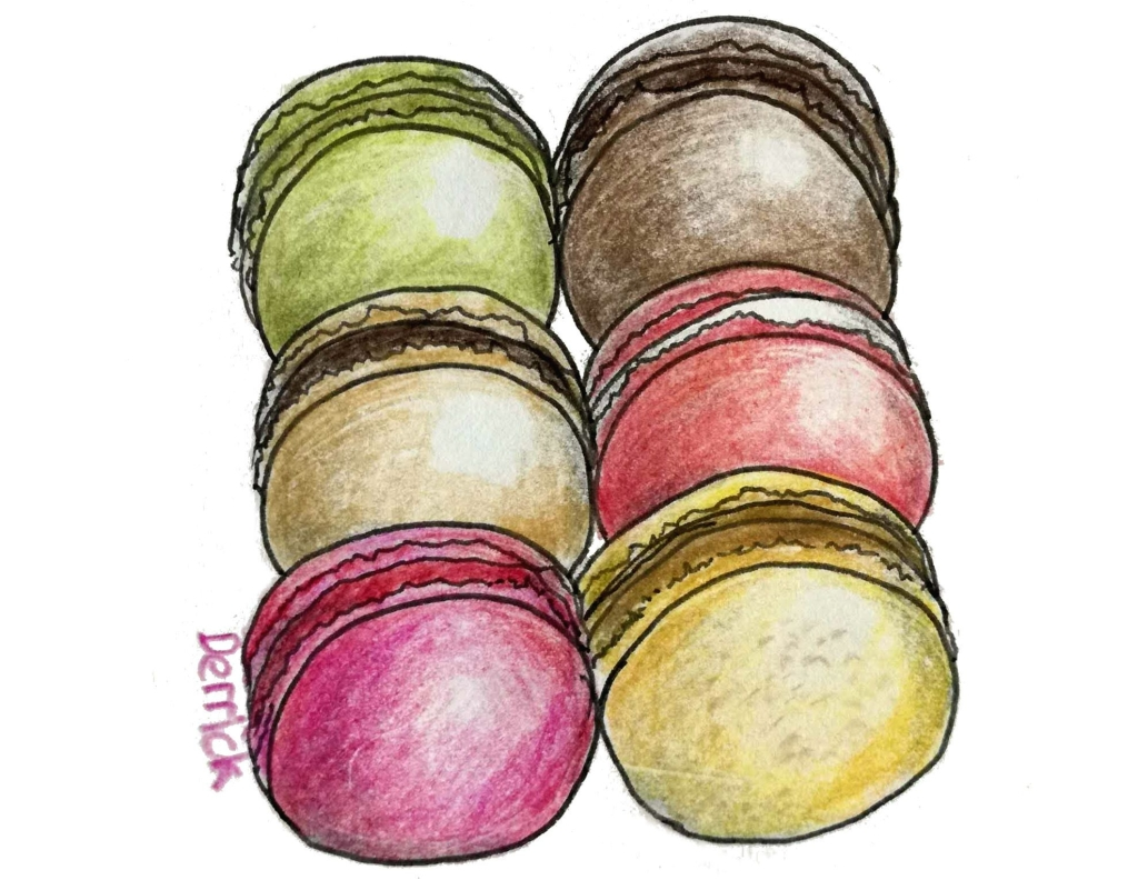 drawing of macaron desserts