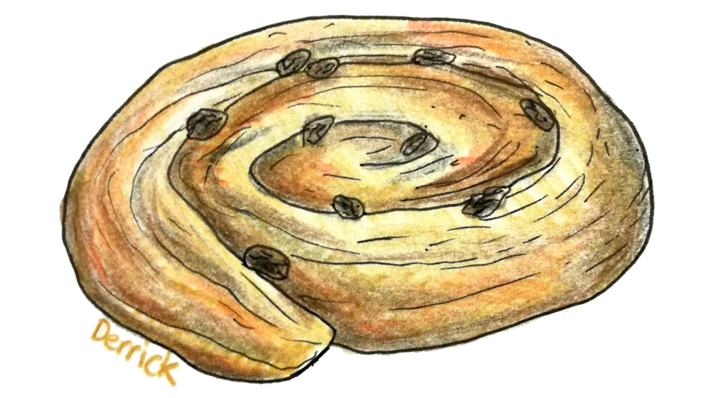 sketch of a raisin scroll