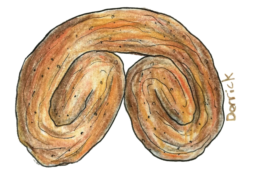 sketch of a palmier pastry