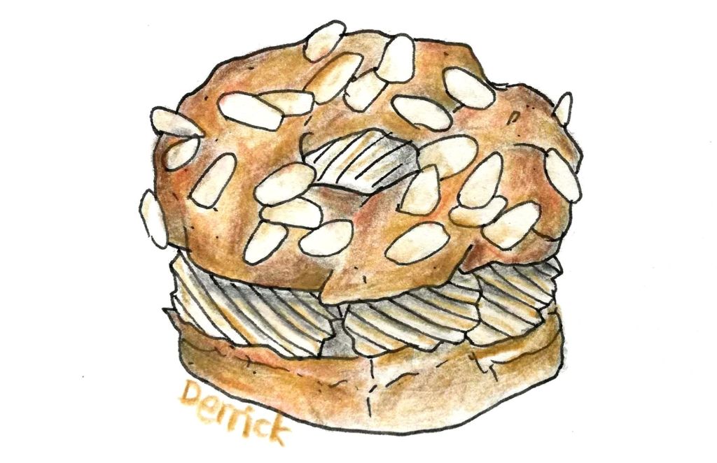 illustration of a paris brest cake