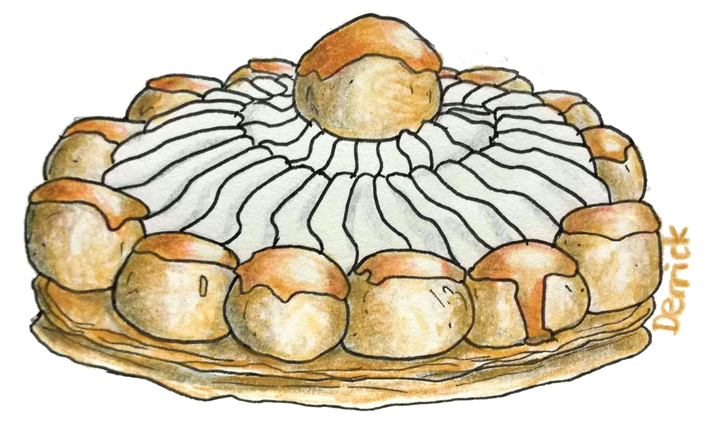 sketch of a saint honore cake