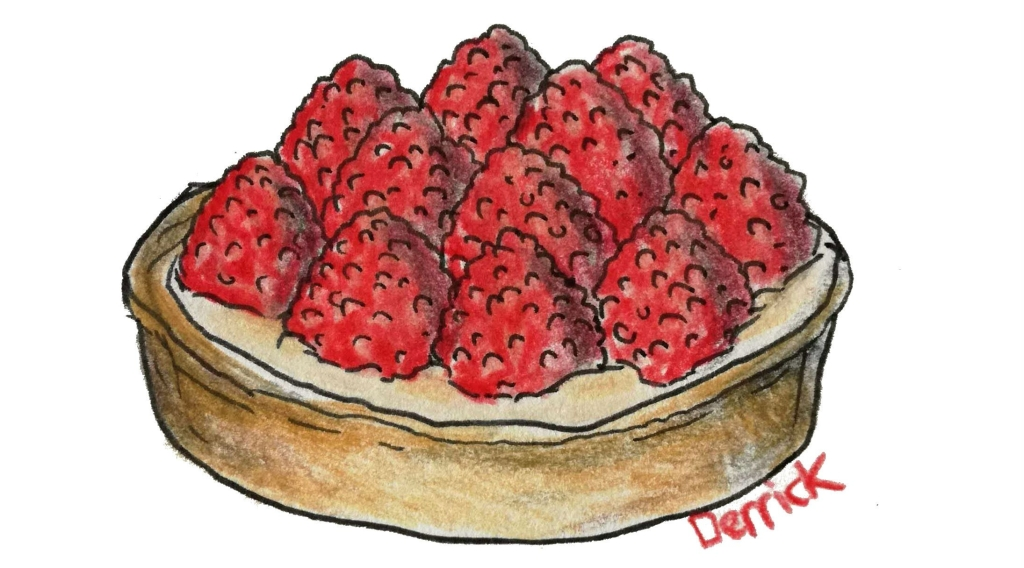 sketch of a raspberry tart
