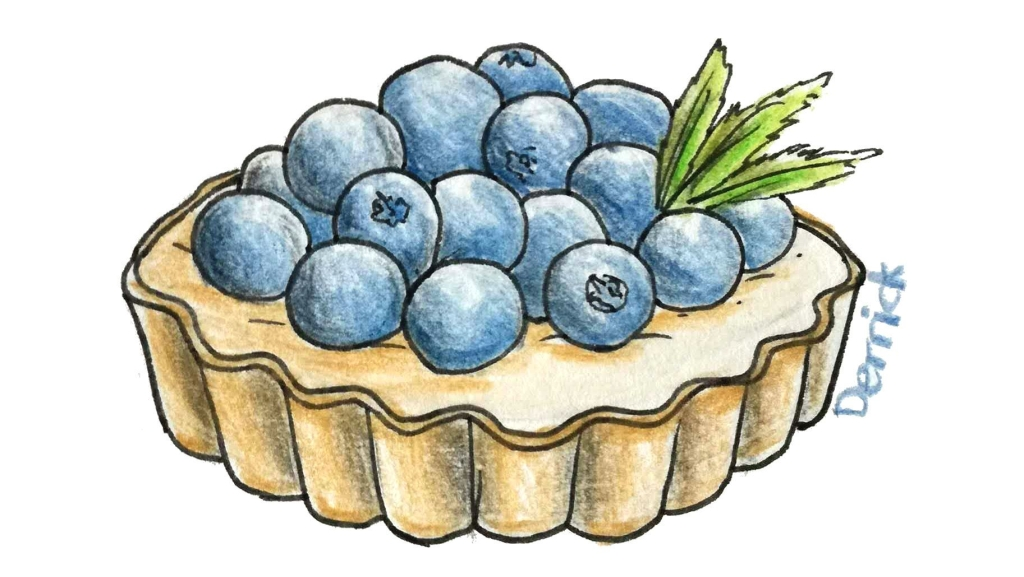 sketch of a blueberry tart