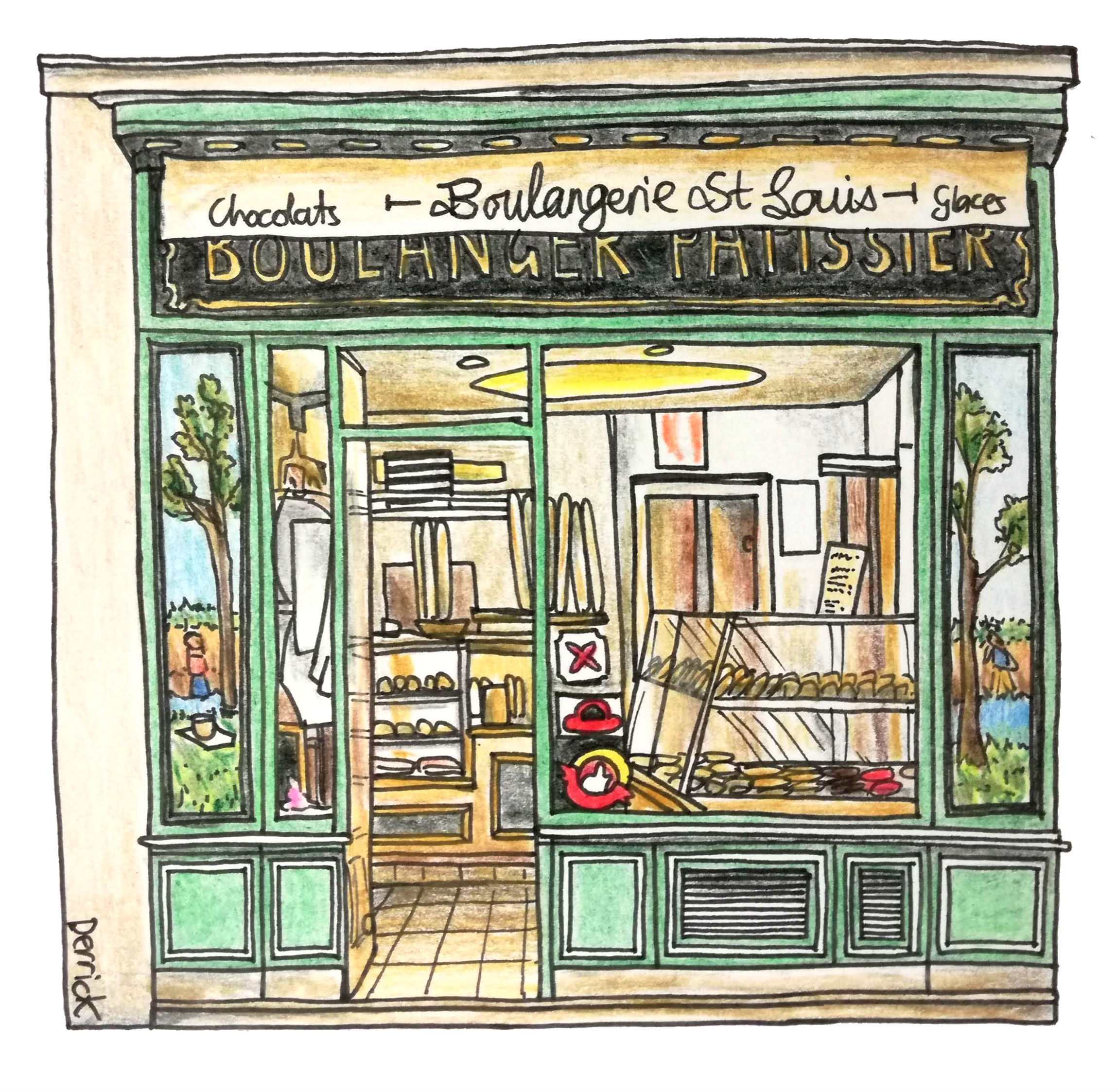 sketch of a french boulangerie